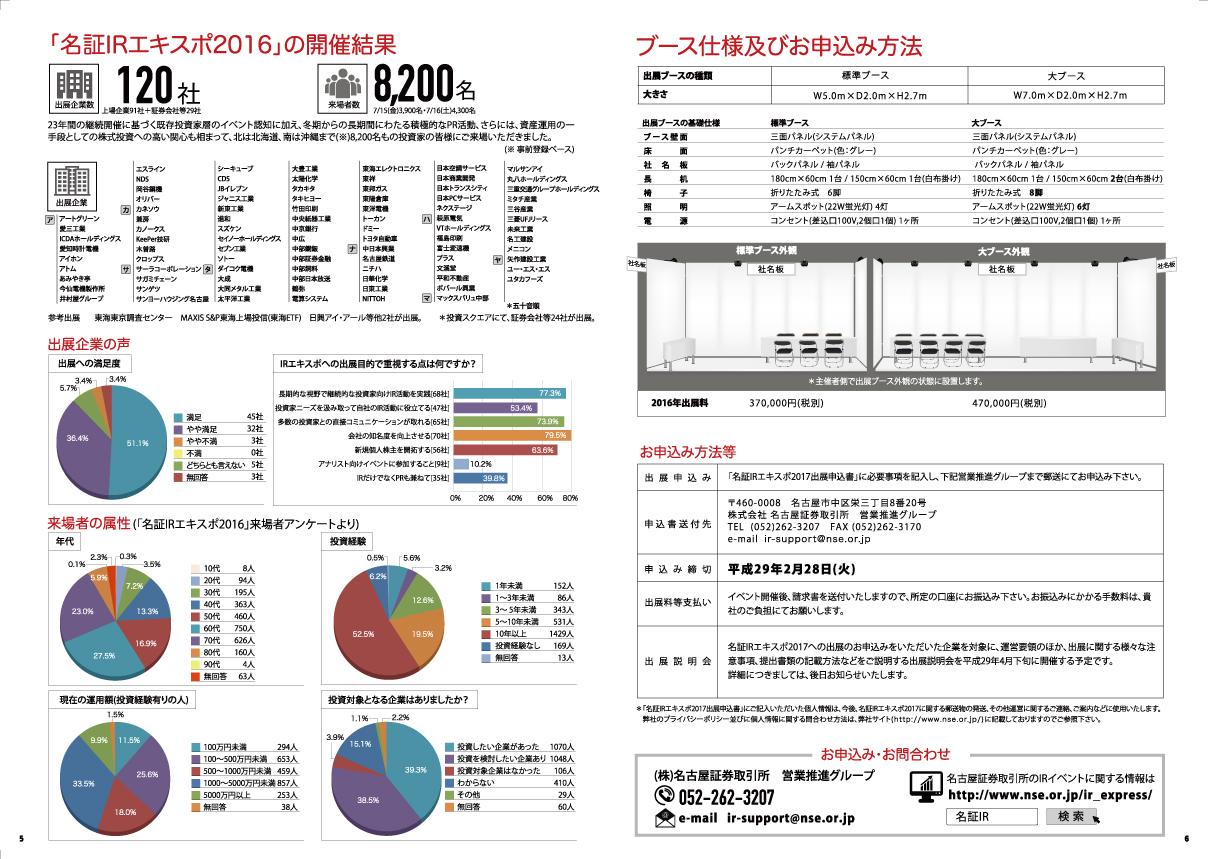 名古屋市東区のホームページ制作 パンフレット制作 ポスター制作会社のOaK 制作実績 名古屋証券取引所 IR EXPO 2017パンフレット